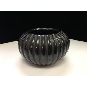 Angela Baca (Santa Clara, 1927-2014) Blackware Melon Pottery Jar