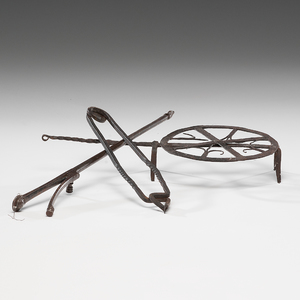 Early Wrought Iron Trivet and Tongs