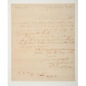 David Humphreys LS Regarding Barbary Affairs, July 1800, Plus