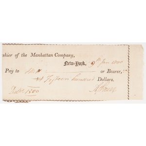 Aaron Burr Signed Check