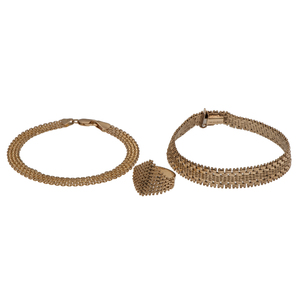 Mesh Bracelets and a Ring in 14 Karat Yellow Gold