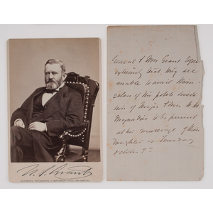 Ulysses S. Grant, Unsigned Note Believed to be in Grant's Hand, Plus Cabinet Photograph