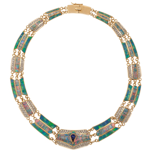 David R. Freeland Jr. Inlaid Opal, Tanzanite and Diamond Necklace in 18 Karat Yellow Gold and Platinum