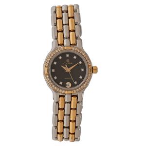 Cyma Diamond Bezel Wrist Watch in Stainless Steel and 18 Karat Yellow Gold