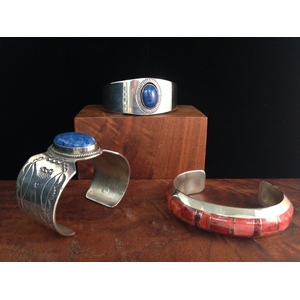 Charles Johnson (Dine, 20th century) Sterling Silver Cuff PLUS, From the Estate of Lorraine Abell, New Jersey (1929-2015)