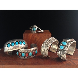 Pauline Benally (Dine, 20th century) Sterling Silver and Turquoise Shadowbox Cuff PLUS, From the Estate of Lorraine Abell, New Jersey (1929-2015)