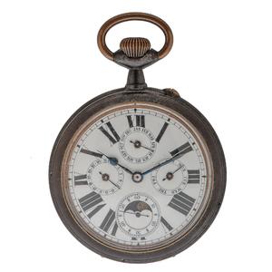 Antique Calendar Moonphase Pocket Watch in Gun Metal