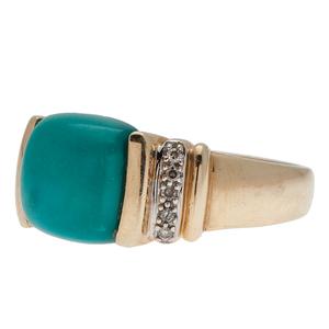 Turquoise and Diamond Ring in 14 Karat Yellow Gold