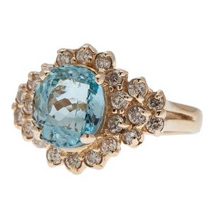 Blue Topaz and Diamond Ring in 14 Karat Yellow Gold
