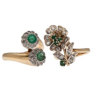 Emerald and Diamond Rings in 14 Karat Yellow Gold