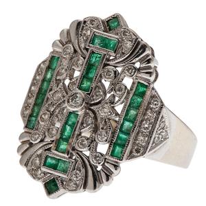 Diamond and Emerald Fashion Ring in 18 Karat White Gold