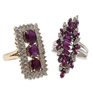 Ruby and Diamond Rings in 14 Karat Gold