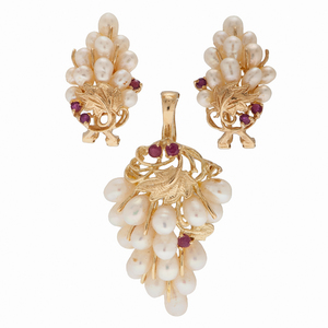S.J. Lau Pearl and Ruby Earrings and Pendant Set