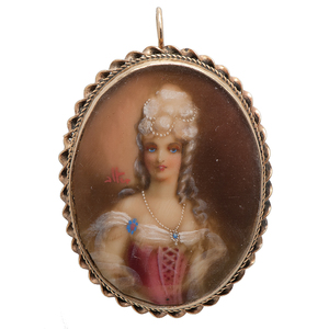 Portrait Miniature Brooch/Pendant of A Beautiful Lady with Pearls