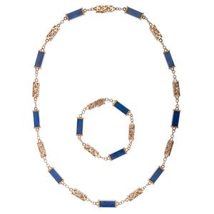 Lapis and 14 Karat Gold Box Bracelet and Matching Necklace