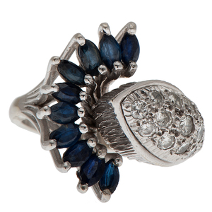 Sapphire and Diamond Ring in 18 Karat White Gold