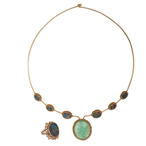 Carved Emerald and Opal Doublet Choker with Opal Doublet Ring in 14 Karat