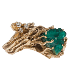 Natural Form Emerald Crystal Ring in 14 Karat Gold with Diamonds