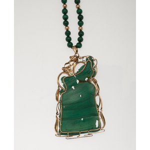 Carved Malachite Pendant with Earrings and a Ring in 14 Karat Yellow Gold