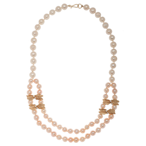 Pearl Swag Necklace with 14 Karat Yellow Gold and Diamond Spacers