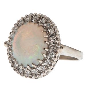 Famor Opal and Diamond Ring in 14 Karat White Gold