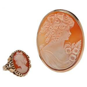 Cameo Ring and Brooch/Pendant in 14 Karat Yellow Gold