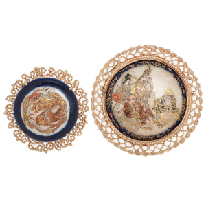 Enameled Brooches with Oriental Themes in 14 Karat Yellow Gold