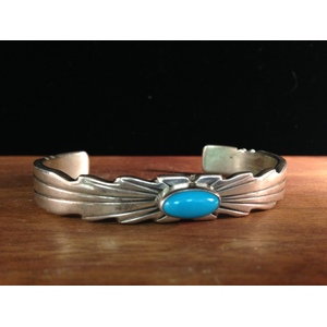Ray Bennett (Dine, 20th century) Sterling Silver and Turquoise Bracelet, From the Estate of Lorraine Abell (New Jersey, 1929-2015)