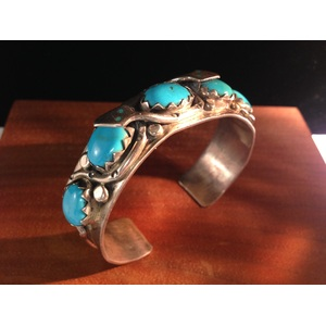 Harry Spencer (Dine, 20th century) Sterling Silver and Turquoise Bracelet, From the Estate of Lorraine Abell (New Jersey, 1929-2015)