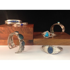 Sterling Silver, Lapis, and Turquoise Bracelets From the Estate of Lorraine Abell, New Jersey (1929-2015)