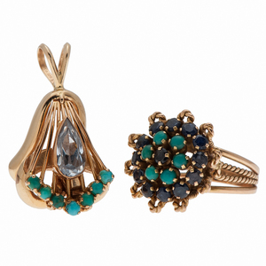 Ring and Pendant with Turquoise, Sapphire and Aquamarine