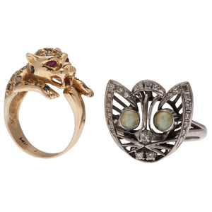 Panther Ring and Kitty Ring in 14 Karat Gold