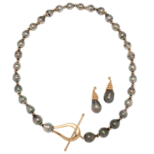 Black Pearl Necklace and Earrings in 14 Karat Yellow Gold
