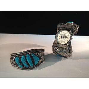 Navajo Sterling Silver and Turquoise Watch Cuff with Claw and Complementing Bracelet, From the Estate of Lorraine Abell (New Jersey, 1929-2015)