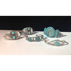 Zuni and Navajo Silver and Turquoise Bracelets, From the Estate of Lorraine Abell (New Jersey, 1929-2015)