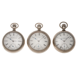 Elgin, Solar And Waltham Open Face Pocket Watches