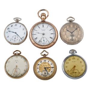 Howard, Hampden, Lord Elgin, Waltham, Gruen and  Rensie Open Face Pocket Watches