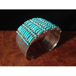 Zuni Silver and Petit Point Turquoise Cuff, From the Estate of Lorraine Abell (New Jersey, 1929-2015)