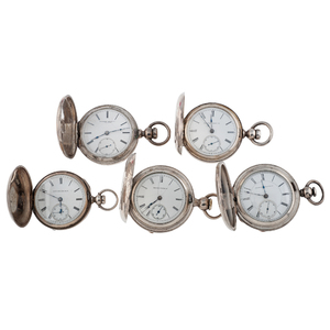 Rockford, Hampden and Illinois Coin Silver Hunter Case Pocket Watches