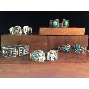 Navajo and Hopi Silver and Turquoise Men's Watchbands, From the Estate of Lorraine Abell (New Jersey, 1929-2015)