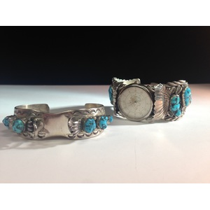 Navajo Silver and Turquoise His and Hers Watchband Cuffs, From the Estate of Lorraine Abell (New Jersey, 1929-2015)