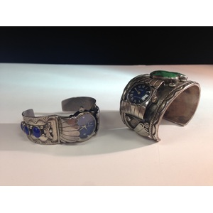 Navajo Silver Watch Cuffs with Turquoise and Lapis, From the Estate of Lorraine Abell (New Jersey, 1929-2015)