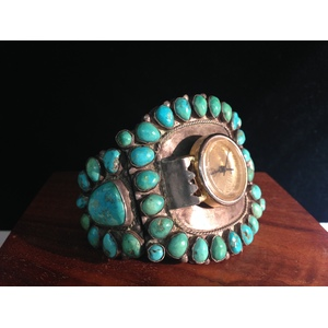 Navajo Silver and Turquoise Watch Cuff, From the Estate of Lorraine Abell (New Jersey, 1929-2015)