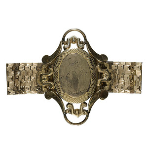 Civil War Era Bracelet Containing Ambrotype Portrait of a Federal Officer