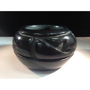 Santa Clara Carved Blackware Bowl Signed Margaret