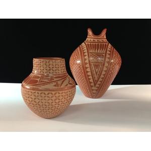 Wilma Baca (Jemez, b. 1967) and Lorraine Chinana (Jemez, b. 1955) Carved Redware Pottery