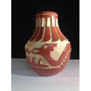 Anna Archuleta (Santa Clara, b. 1953) Carved Redware Pottery Vase