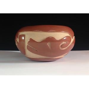 Joy Cain (Santa Clara, b. 1947) Carved Redware Pottery Bowl