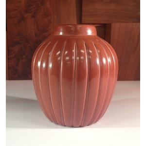 Alvin Baca (Santa Clara, 20th century) Carved Redware Melon Pottery Bowl