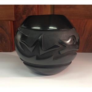 Rose M. Lewis (Santa Clara, b. 1952) Carved Blackware Pottery Bowl